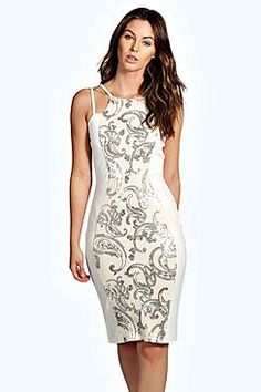 Zoe Sequin Panel Midi Dress