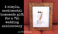 A simple gift idea for your 7th wedding anniversary via @letters4lucas