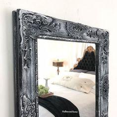 Black Shabby Chic Mirror with White