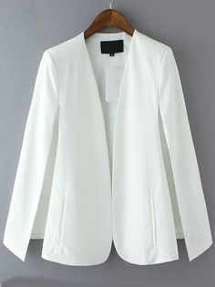 White Long Sleeve Casual Cape Blazer
