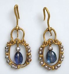 Gold Earring with Pearls and Sapphires  Date: 6th–7th century Culture: Byzantine Medium: Gold, sapphire, pearls