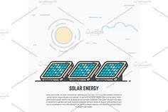 Solar panels Graphics Solar panels concept. Sun and clouds. Modern line style vector illustration with text. by SkyVectors