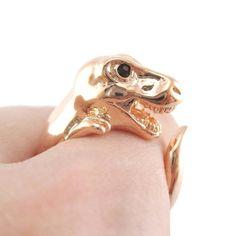 Dinosaur T-Rex Prehistoric Animal Ring in Shiny Copper