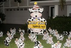 birthday yard signs holy cow lawn greeting lawn sign birthday