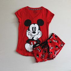 2016 новых короткими рукавами пижамы женские летние хлопка трикотажные шорты костюм XL красный напечатаны мультфильм случайный костюм