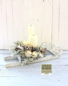 This great MDF Sledge is great to be used as a platform for all types of decoration for Christmas. Beautiful for creating a lovely Christmas mood and scenery by adding few more embellishments. Christmas Wood Crafts, Christmas Room, Christmas Makes, Simple Christmas, All Things Christmas, Handmade Christmas, Christmas Wreaths, Beautiful Christmas Decorations, Christmas Table Decorations