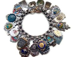 "July Challenge - ""I've Been Everywhere"" by Johnny Cash - Chunky charm bracelet made with souvenir spoon tops by Renee Webb Allen of www.smallstuffdesign.com."