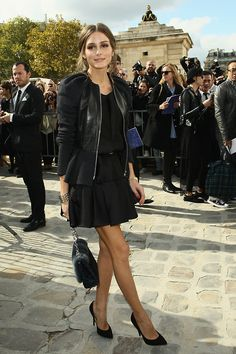 Olivia Wilde in a leather jacket, mary jane heels and Marc Jacobs ...