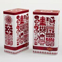 folk art inspired coffee packaging done by Finnish illustrator Sanna Annukka