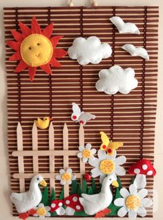 You can prepare such a beautiful and different wall board by using felt figures. / isn't this felt wall decor amazing? Cute Crafts, Felt Crafts, Diy And Crafts, Crafts For Kids, Arts And Crafts, Diy Projects To Try, Sewing Projects, Felt Books, Felt Patterns