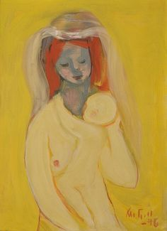 Mother and Child by Kai Fjell (1907-1989), Norwegian painter with a style of ornamental expressionism, influenced by rural life and traditional Norwegian folk art. His early work was dominated by dark, earthy hues and often has grotesque motifs. His later works are significantly brighter, more daring in their use of colour, and tranquil in mood. Throughout his long career, the female figure and various fertility-symbols are recurring motifs in Fjell's pictures (wiki) - (fleurdulys - Eva's…