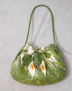 Calla Lillies Felt Purse. Felted wool floral pattern. by GoldRuno, $150.00