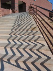 Love this perspective. I like the way the zigzags stretch out over the stairs like an accordian.