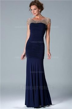 Sheath/Column Bateau Floor-length Jersey Mother of the Bride Dress