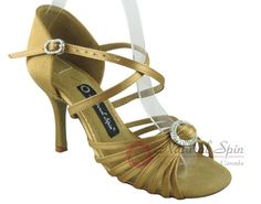 Natural Spin Signature Latin Shoes(Open Toe):  H1111-02_GoldES