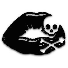 Tattoo Idea - black lips with skull and crossbones