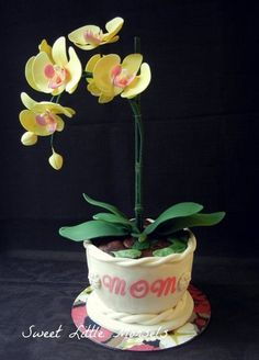 Orchid Cake - by SweetLittleMorsels @ CakesDecor.com - cake decorating website