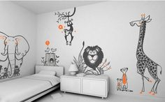 6 Animal themed wall decals Wall Decals For Kids Room