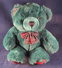 Image detail for -Dan Dee Green Plush Stuffed Teddy Bear EUC Plaid Bow - Ad#: 1695105 ...