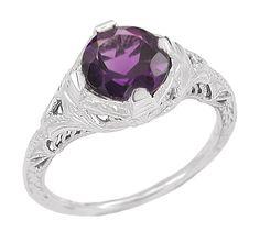 Art Deco Amethyst Engraved Filigree Ring in Sterling Silver $115.00 http://www.antiquejewelrymall.com/ssr161am.html