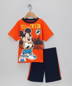 Take a look at this Disney Orange & Navy 'Mickey' Tee & Shorts - Infant & Toddler by Disney on #zulily today!