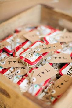 these are Mike's favorite, love this idea in the green/bluish tins! fun gift for wedding guests