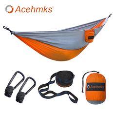 Acehmks Hammock Portable Folding Ultralight Parachute Nylon Camping Hammock Garden Swing Multi Color With 2 Tree Straps Single