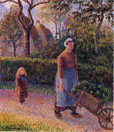Woman with a Wheelbarrow - Camille Pissarro