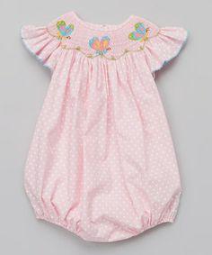 Pink Polka Dot Butterflies Smocked Bubble Bodysuit - Infant by Petite Palace #zulily #zulilyfinds