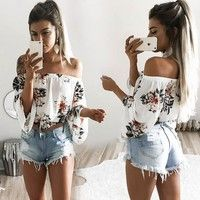 Wish | Womens Printed Off Shoulder Casual Loose T-Shirt Tops Summer Blouse Tops Shirt