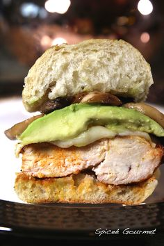 grilled chicken sandwich with avocado, provolone and ciabatta bread. Yum.