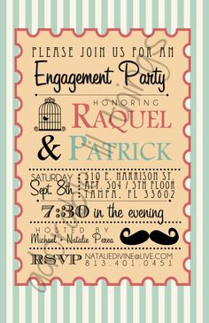Whimsical Engagement Party Invite ~ Invitation Templates on Creative Market