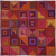 Optical Squares Tablecloth by Kaffe Fasset (Passionate Patchwork) Plaid Quilt, Striped Quilt, Striped Fabrics, Patchwork Patterns, Quilt Patterns, Patchwork Designs, Quilting Projects, Quilting Designs, Quilting Ideas