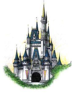 Walt Disney World Cinderella Castle Drawing - Walt Disney World Cinderella Castle Fine Art Disney Castle Drawing, Castle Sketch, Disney Drawings, Disney Castle Tattoo, Disney Kunst, Disney Art, Walt Disney World, Castle Painting, Pinturas Disney