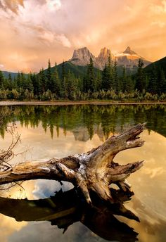 Reflection of Three Sister Mountain in Canmore.