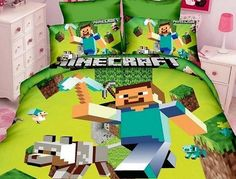 Green New Style Minecraft Duvet Cover & Pillowcases