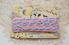 Vintage French ribbon trim pink and blue original by LaCroixRosion