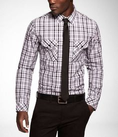 Express Men - PLAID FITTED SHIRT