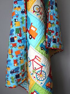 Modern Baby Boy Quilt-Truck Bedding-Toddler Quilt  This adorable quilt is completed and ready to ship! This modern boy quilt is fully reversible