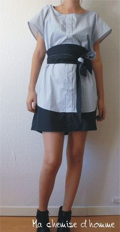 This dress is made with upcycled man's shirt and .... Can be worn all alone or with the reversible Obi Belt