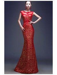 Round Neck Qipao / Cheongsam Wedding Dress with Deep V Neck