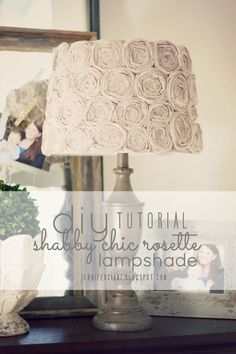Do it yourself lamp shade from: Simply Ciani: Diy Shabby Chic Rosette Lamp Shade