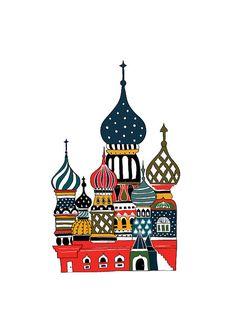 Lovely Onion Palace Illustration Travel Art Print by dekanimal Russian Architecture, Drawing Architecture, Russian Art, Russian Style, Russian Folk, Art Lessons, Bunt, Illustrators, Folk Art