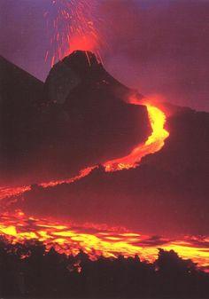 Vista asombrosa de la lava