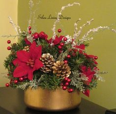 Christmas Holiday Poinsettia Floral by SilvaLiningDesigns on Etsy