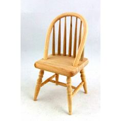 Dolls House Miniature Unfinished Furniture Natural Wood Spindle Back Chair