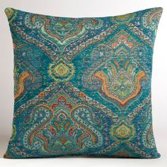 Peacock Jacquard Venetian Pillow - $24.99 »  The peacock coloring and beautiful jacquard print make this a unique pillow for a sofa set or chair. Morocco is full of beautiful roaming peacocks, and the colors that they inspire are stunning.