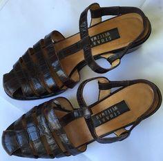 Stuart Weitzman T-strap Slingback Sandals Womens Size 8W  Dark Brown  #StuartWeitzman #Slingbacks #Casual