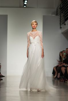 lace illusion sleeves and tulle by http://amsale.com/ Photography: Daniel Dorsa - danieldorsa.com/