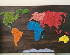 Hippe String Art wereldkaart op sloophout by ETSARTZ on Etsy